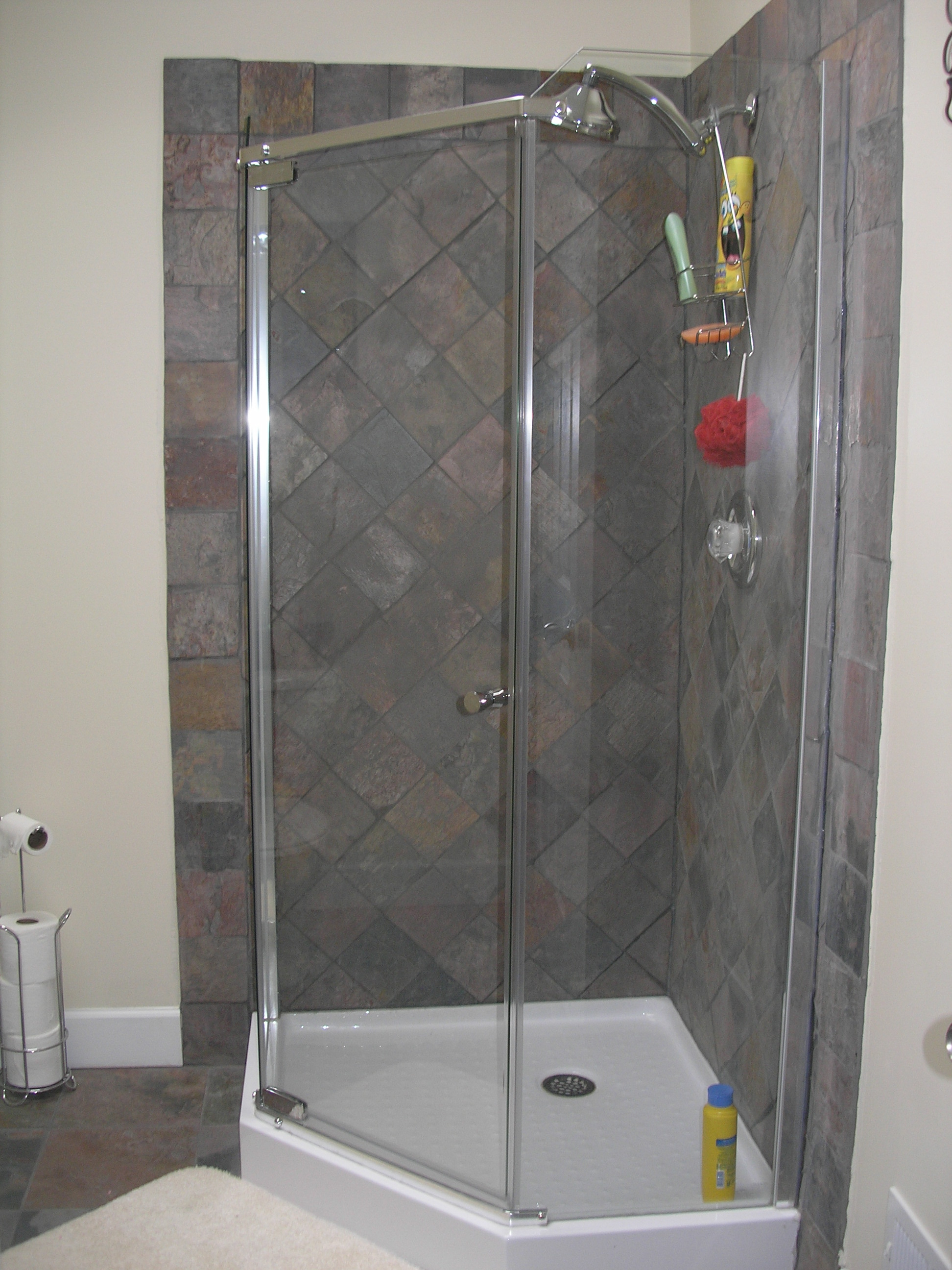 Shower Ideas - large custom tile shower with large tile walls with ...