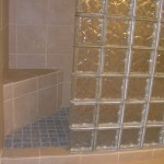 Glass Block Shower with Seat